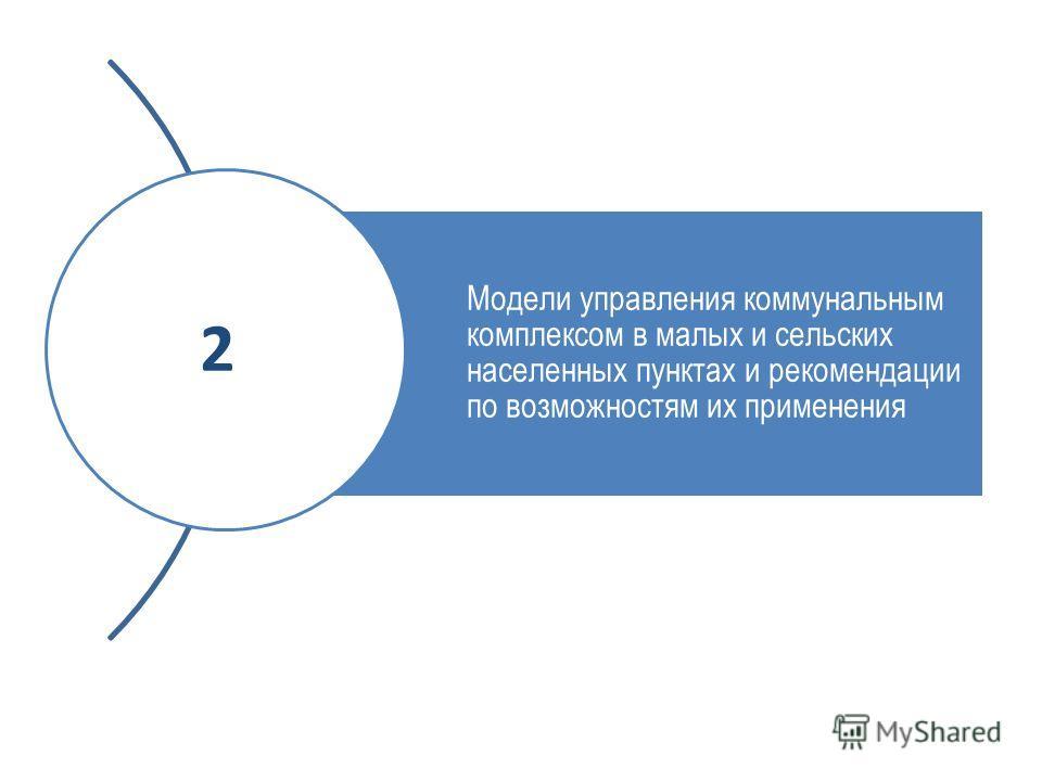 Модели управления коммунальным комплексом в малых и сельских населенных пунктах и рекомендации по возможностям их применения 2