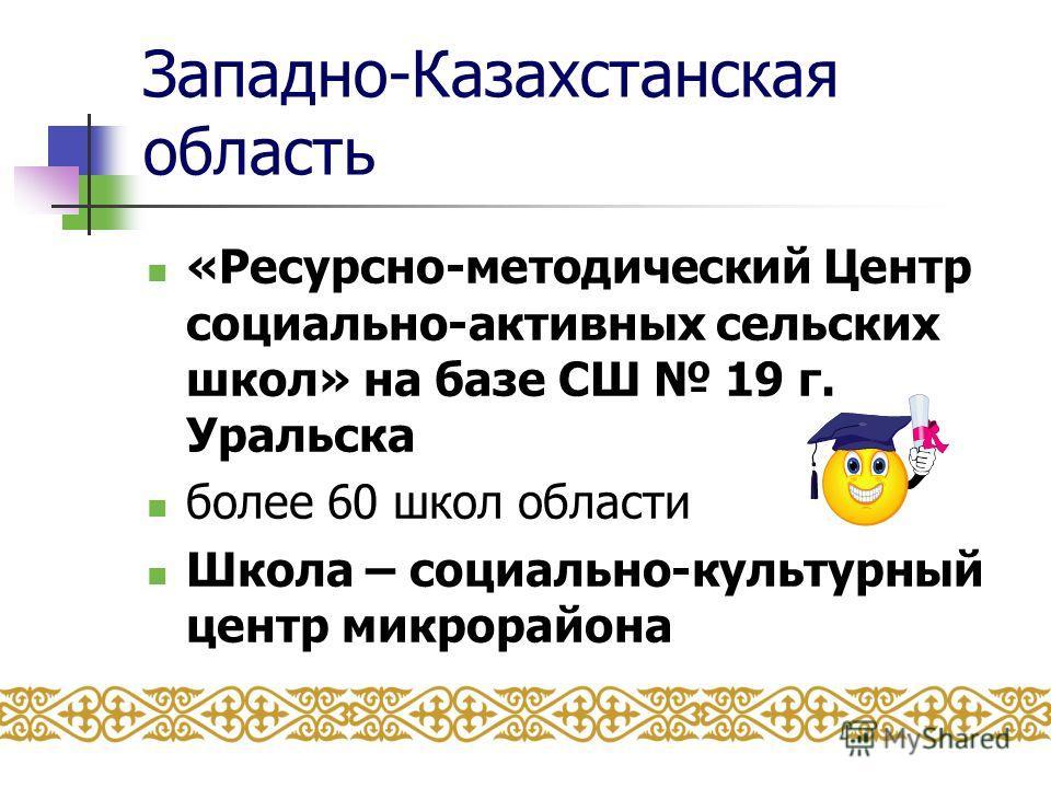 Западно-Казахстанская область «Ресурсно-методический Центр социально-активных сельских школ» на базе СШ 19 г. Уральска более 60 школ области Школа – социально-культурный центр микрорайона