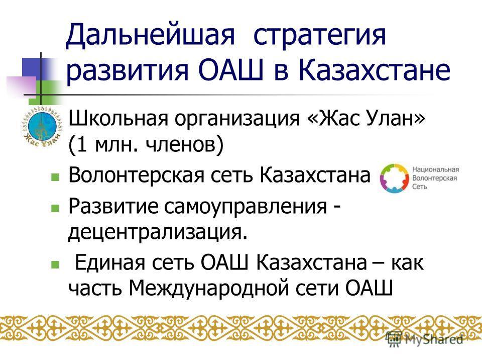 Дальнейшая стратегия развития ОАШ в Казахстане Школьная организация «Жас Улан» (1 млн. членов) Волонтерская сеть Казахстана Развитие самоуправления - децентрализация. Единая сеть ОАШ Казахстана – как часть Международной сети ОАШ