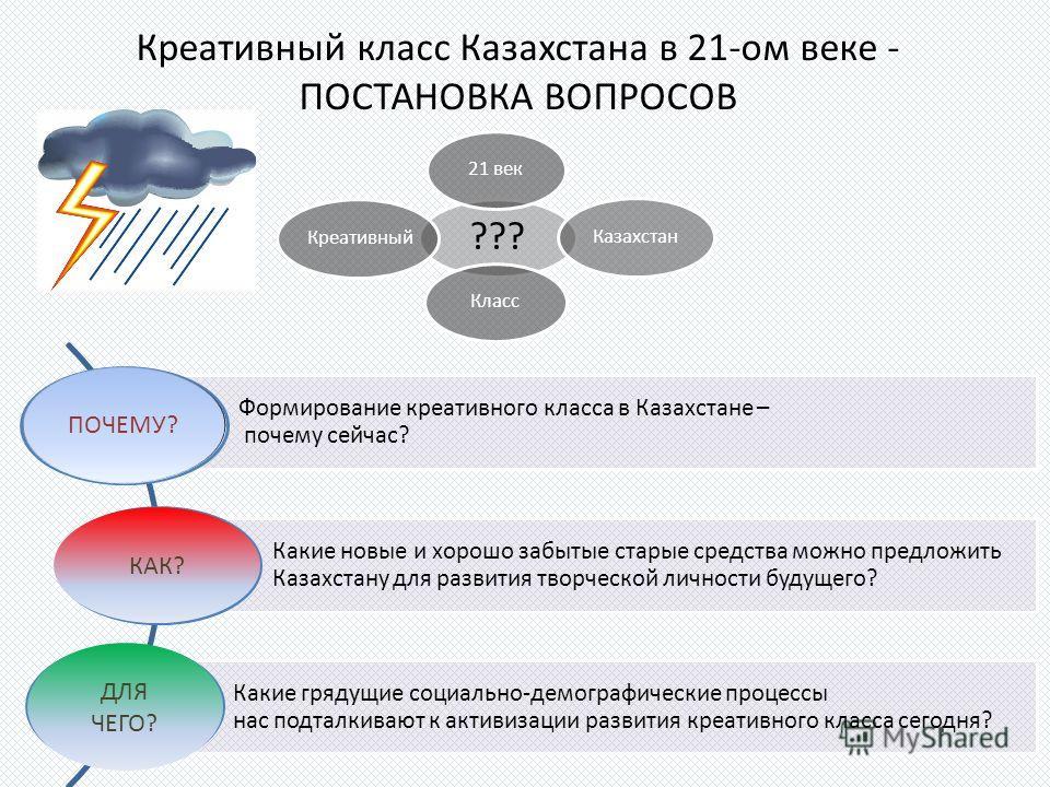 Формирование креативного класса в Казахстане – почему сейчас? Какие новые и хорошо забытые старые средства можно предложить Казахстану для развития творческой личности будущего? Какие грядущие социально-демографические процессы нас подталкивают к акт
