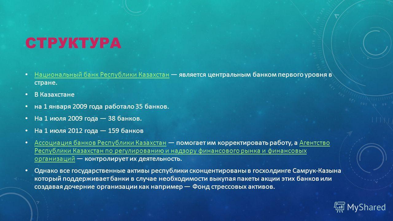 СТРУКТУРА Национальный банк Республики Казахстан является центральным банком первого уровня в стране. Национальный банк Республики Казахстан В Казахстане на 1 января 2009 года работало 35 банков. На 1 июля 2009 года 38 банков. На 1 июля 2012 года 159