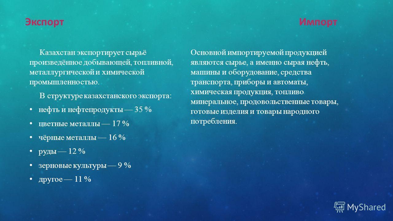 Экспорт Казахстан экспортирует сырьё произведённое добывающей, топливной, металлургической и химической промышленностью. В структуре казахстанского экспорта: нефть и нефтепродукты 35 % цветные металлы 17 % чёрные металлы 16 % руды 12 % зерновые культ