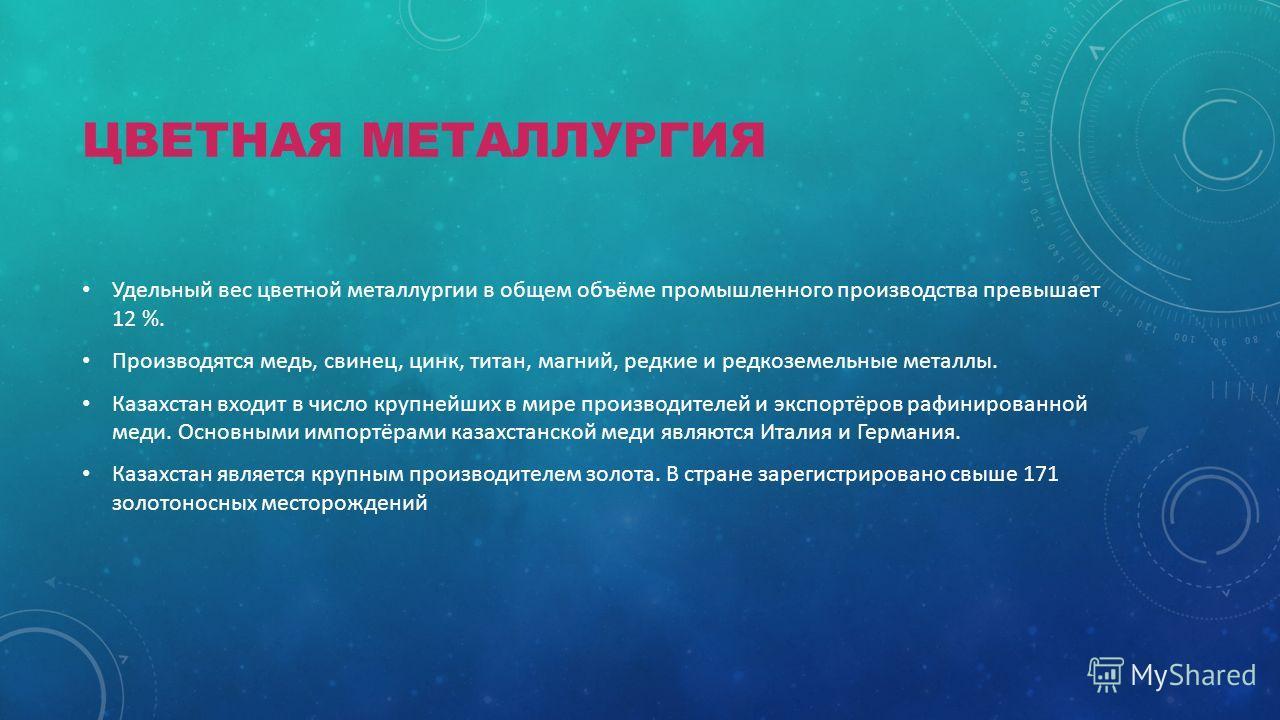 ЦВЕТНАЯ МЕТАЛЛУРГИЯ Удельный вес цветной металлургии в общем объёме промышленного производства превышает 12 %. Производятся медь, свинец, цинк, титан, магний, редкие и редкоземельные металлы. Казахстан входит в число крупнейших в мире производителей