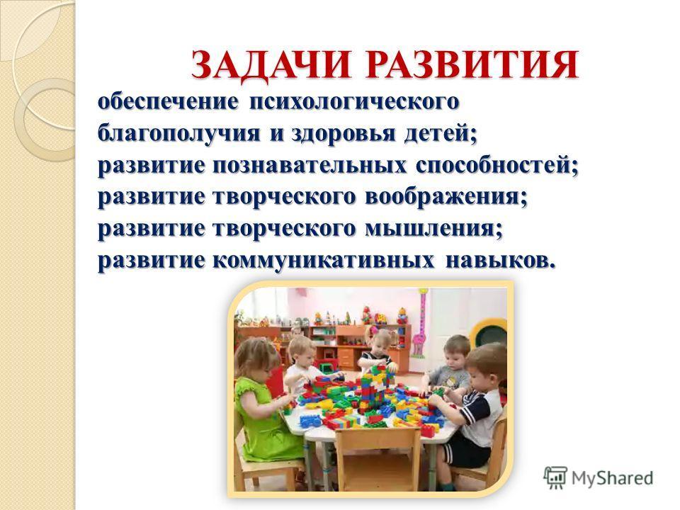 ЗАДАЧИ РАЗВИТИЯ обеспечение психологического благополучия и здоровья детей; развитие познавательных способностей; развитие творческого воображения; развитие творческого мышления; развитие коммуникативных навыков.