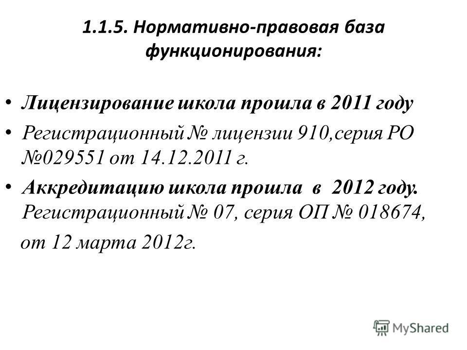 1.1.5. Нормативно-правовая база функционирования: Лицензирование школа прошла в 2011 году Регистрационный лицензии 910,серия РО 029551 от 14.12.2011 г. Аккредитацию школа прошла в 2012 году. Регистрационный 07, серия ОП 018674, от 12 марта 2012 г.