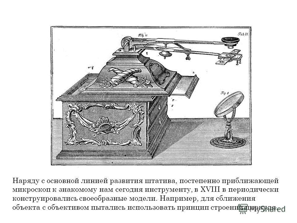 Наряду с основной линией развития штатива, постепенно приближающей микроскоп к знакомому нам сегодня инструменту, в XVIII в периодически конструировались своеобразные модели. Например, для сближения объекта с объективом пытались использовать принцип