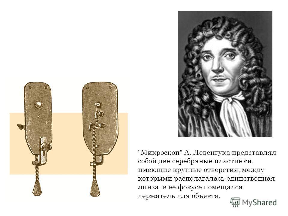 Микроскоп А. Левенгука представлял собой две серебряные пластинки, имеющие круглые отверстия, между которыми располагалась единственная линза, в ее фокусе помещался держатель для объекта.