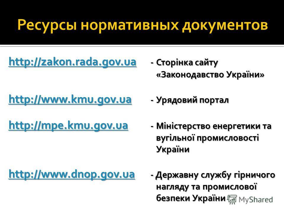 http://zakon.rada.gov.ua http://zakon.rada.gov.ua -Сторінка сайту «Законодавство України» http://zakon.rada.gov.ua http://www.kmu.gov.ua http://www.kmu.gov.ua -Урядовий портал http://www.kmu.gov.ua http://mpe.kmu.gov.ua http://mpe.kmu.gov.ua -Міністе