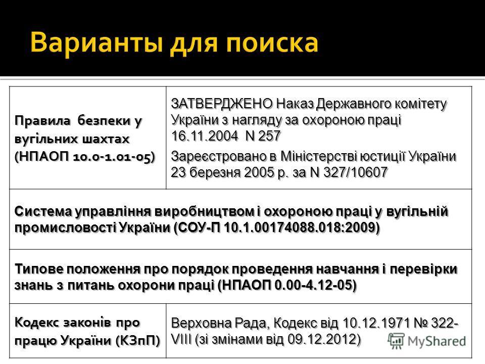 Правила безпеки у вугільних шахтах (НПАОП 10.0-1.01-05) ЗАТВЕРДЖЕНО Наказ Державного комітету України з нагляду за охороною праці 16.11.2004 N 257 Зареєстровано в Міністерстві юстиції України 23 березня 2005 р. за N 327/10607 Система управління вироб