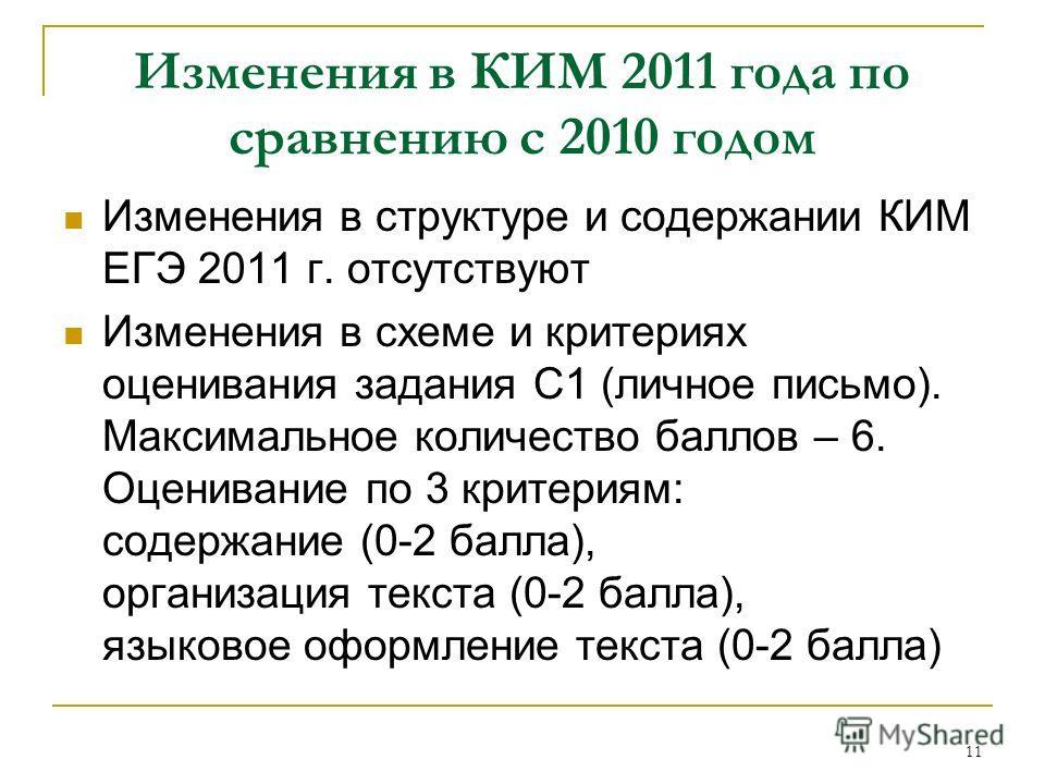 11 Изменения в КИМ 2011 года по сравнению с 2010 годом Изменения в структуре и содержании КИМ ЕГЭ 2011 г. отсутствуют Изменения в схеме и критериях оценивания задания С1 (личное письмо). Максимальное количество баллов – 6. Оценивание по 3 критериям: