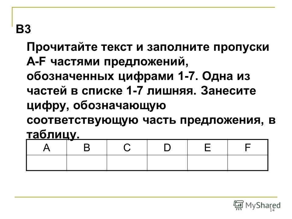 14 В3 Прочитайте текст и заполните пропуски A-F частями предложений, обозначенных цифрами 1-7. Одна из частей в списке 1-7 лишняя. Занесите цифру, обозначающую соответствующую часть предложения, в таблицу. ABCDEF