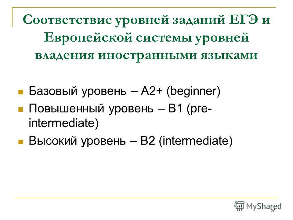 20 Соответствие уровней заданий ЕГЭ и Европейской системы уровней владения иностранными языками Базовый уровень – A2+ (beginner) Повышенный уровень – В1 (pre- intermediate) Высокий уровень – В2 (intermediate)