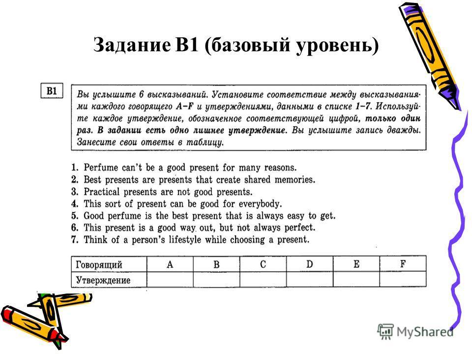 Задание В1 (базовый уровень)