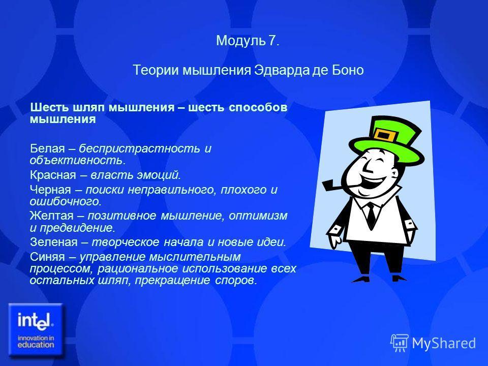 Модуль 7. Теории мышления Эдварда де Боно Шесть шляп мышления – шесть способов мышления Белая – беспристрастность и объективность. Красная – власть эмоций. Черная – поиски неправильного, плохого и ошибочного. Желтая – позитивное мышление, оптимизм и