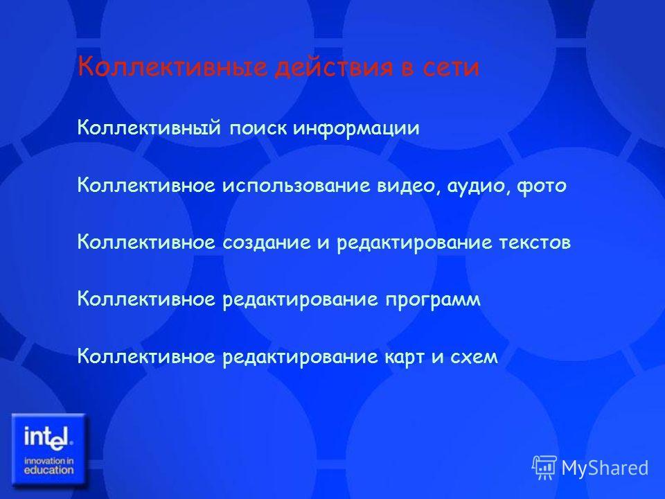 Коллективные действия в сети Коллективный поиск информации Коллективное использование видео, аудио, фото Коллективное создание и редактирование текстов Коллективное редактирование программ Коллективное редактирование карт и схем