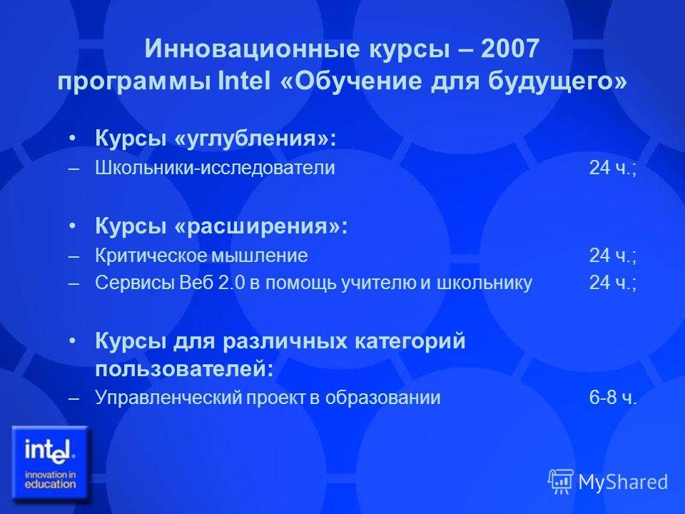 Инновационные курсы – 2007 программы Intel «Обучение для будущего» Курсы «углубления»: –Школьники-исследователи 24 ч.; Курсы «расширения»: –Критическое мышление 24 ч.; –Сервисы Веб 2.0 в помощь учителю и школьнику 24 ч.; Курсы для различных категорий