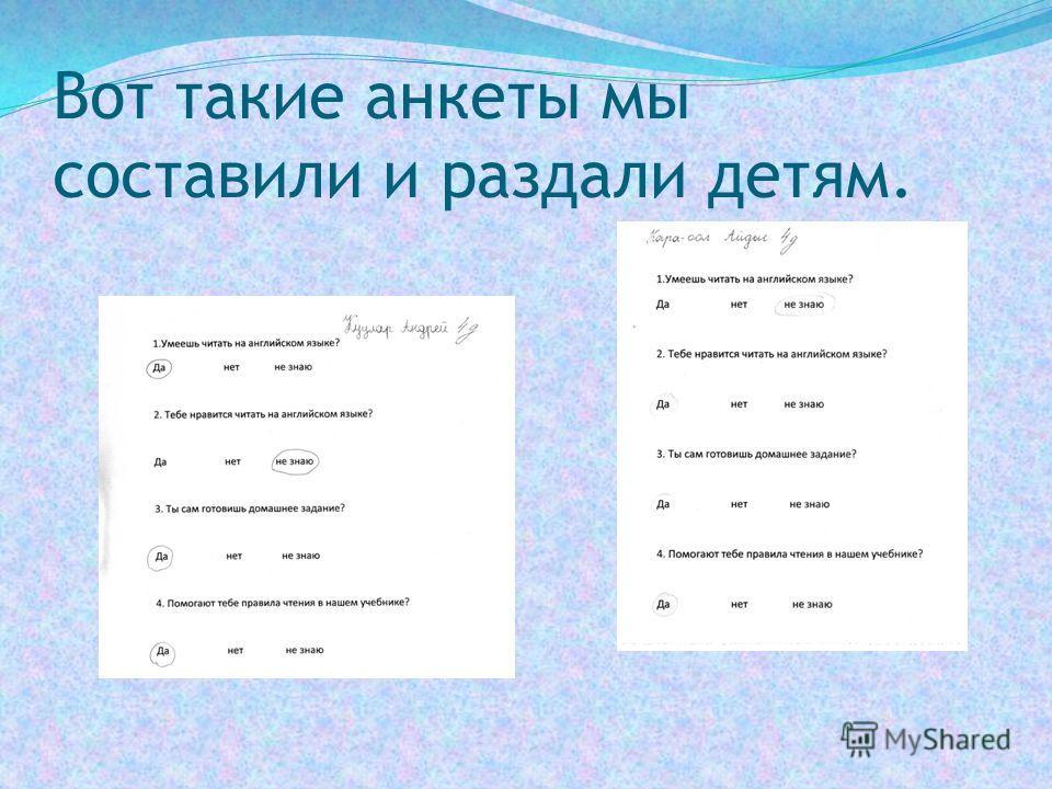 Вот такие анкеты мы составили и раздали детям.