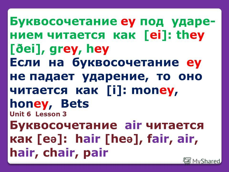 Буквосочетание ey под ударe- нием читается как [ei]: they [ðei], grey, hey Если на буквосочетание ey не падает ударение, то оно читается как [i]: money, honey, Bets Unit 6 Lesson 3 Буквосочетание air читается как [e ə ]: hair [he ə ], fair, air, hair