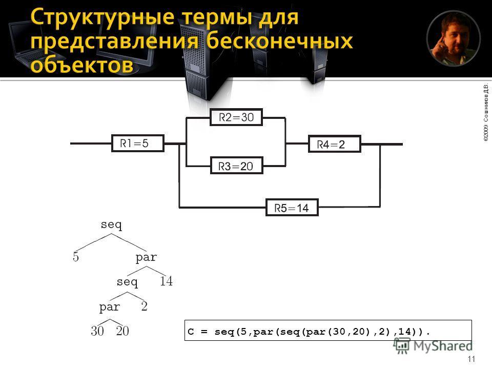 ©2009 Сошников Д.В. 11 C = seq(5,par(seq(par(30,20),2),14)).