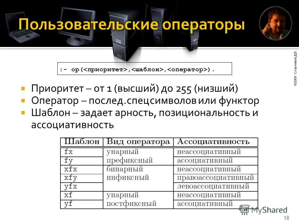 ©2009 Сошников Д.В. 18 Приоритет – от 1 (высший) до 255 (низший) Оператор – послед.спецсимволов или функтор Шаблон – задает арность, позициональность и ассоциативность :- op(,, ).