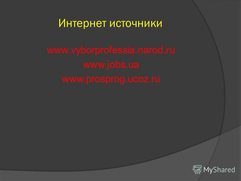 Интернет источники www.vyborprofessia.narod.ru www.jobs.ua www.prosprog.ucoz.ru