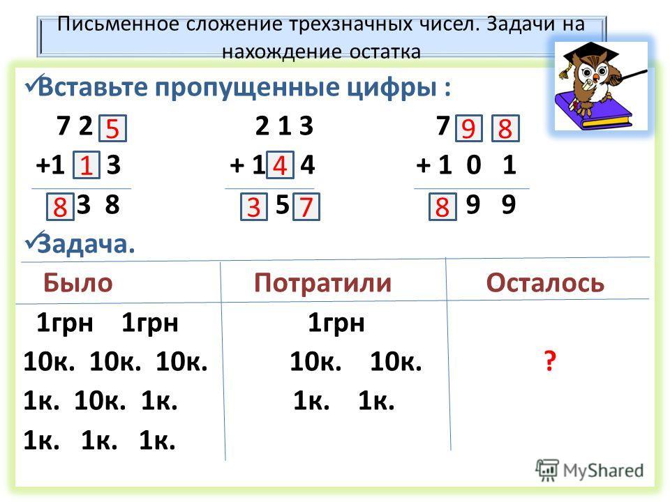 Письменное сложение трехзначных чисел. Задачи на нахождение остатка Вставьте пропущенные цифры : 7 2 2 1 3 7 +1 3 + 1 4 + 1 0 1 3 8 5 9 9 Задача. Было Потратили Осталось 1 грн 1 грн 1 грн 10 к. 10 к. 10 к. 10 к. 10 к. ? 1 к. 10 к. 1 к. 1 к. 1 к. 1 к.