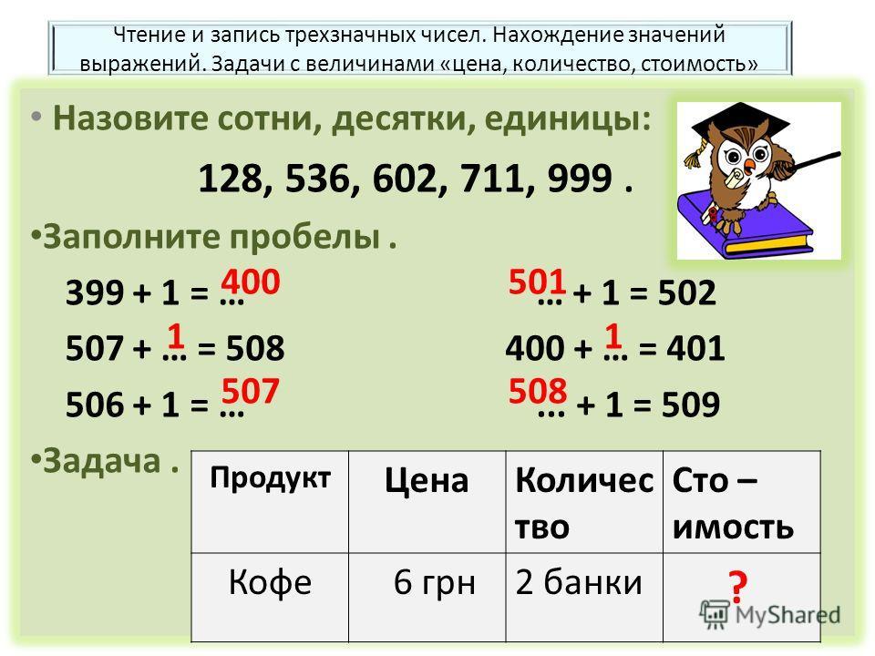 Чтение и запись трехзначных чисел. Нахождение значений выражений. Задачи с величинами «цена, количество, стоимость» Назовите сотни, десятки, единицы: 128, 536, 602, 711, 999. Заполните пробелы. 399 + 1 = … … + 1 = 502 507 + … = 508 400 + … = 401 506