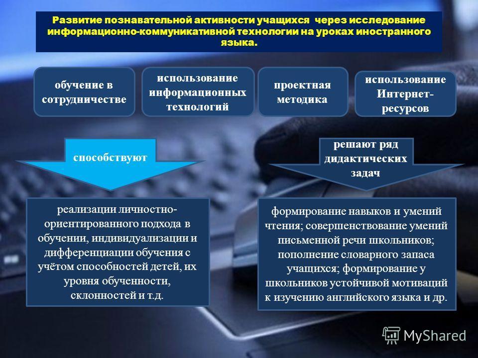 Развитие познавательной активности учащихся через исследование информационно-коммуникативной технологии на уроках иностранного языка. обучение в сотрудничестве проектная методика использование информационных технологий использование Интернет- ресурсо