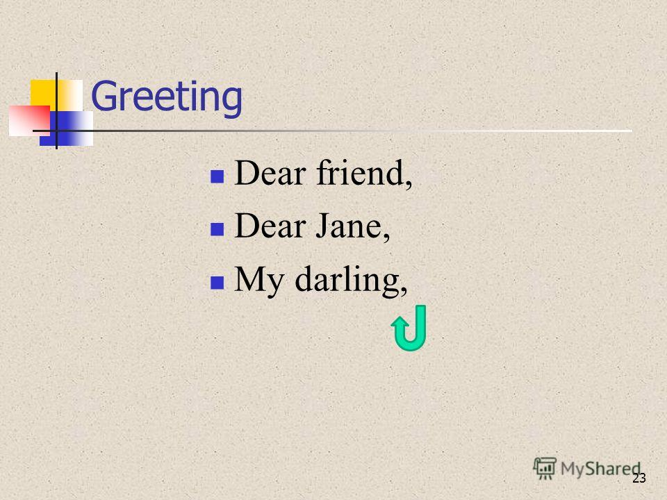 Greeting Dear friend, Dear Jane, My darling, 23