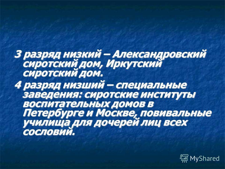3 разряд низкий – Александровский сиротский дом, Иркутский сиротский дом. 4 разряд низший – специальные заведения: сиротские институты воспитательных домов в Петербурге и Москве, повивальные училища для дочерей лиц всех сословий.