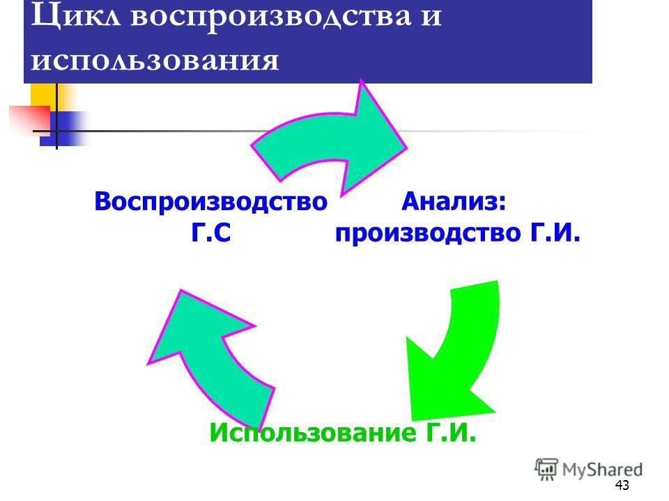 43 Цикл воспроизводства и использования Анализ: производство Г.И. Использование Г.И. Воспроизводство Г.С