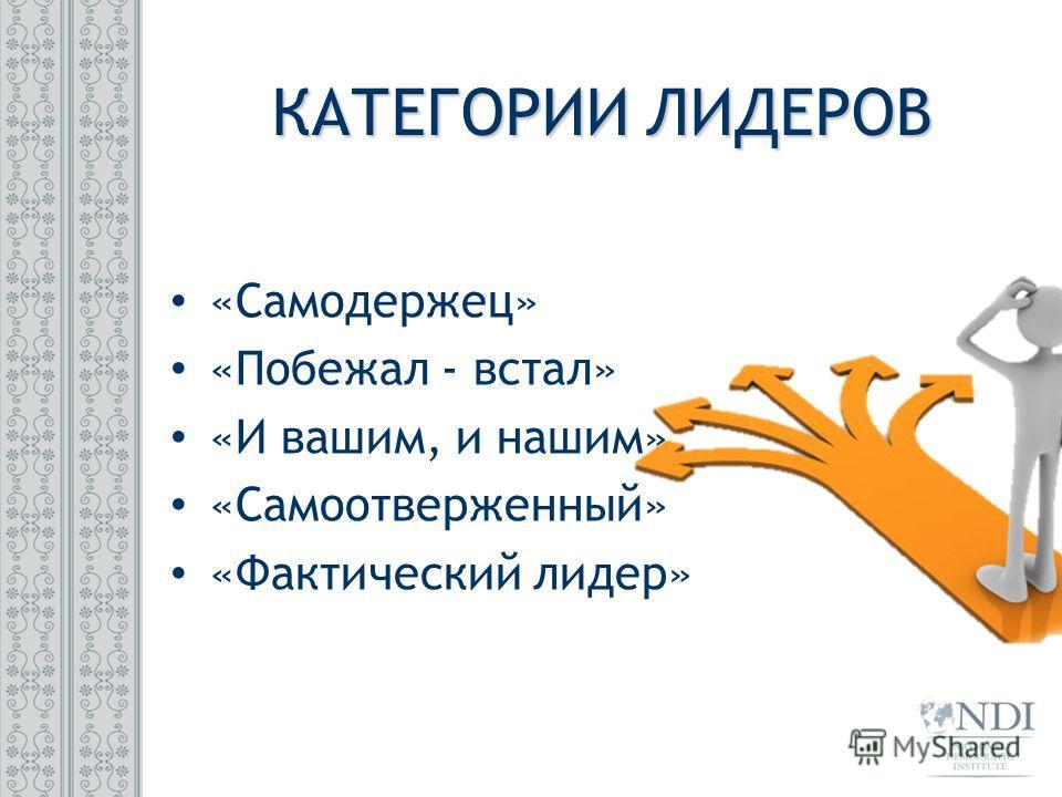 «Самодержец» «Побежал - встал» «И вашим, и нашим» «Самоотверженный» «Фактический лидер» КАТЕГОРИИ ЛИДЕРОВ