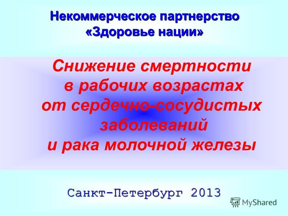 Некоммерческое партнерство «Здоровье нации» Снижение смертности в рабочих возрастах от сердечно-сосудистых заболеваний и рака молочной железы Санкт-Петербург 2013