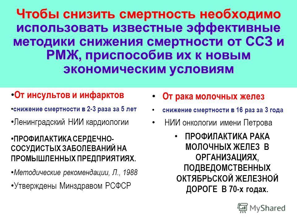 Чтобы снизить смертность необходимо использовать известные эффективные методики снижения смертности от ССЗ и РМЖ, приспособив их к новым экономическим условиям От инсультов и инфарктов снижение смертности в 2-3 раза за 5 лет Ленинградский НИИ кардиол