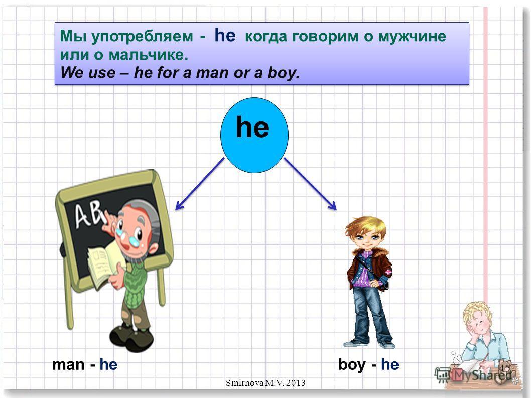Мы употребляем - he когда говорим о мужчине или о мальчике. We use – he for a man or a boy. Мы употребляем - he когда говорим о мужчине или о мальчике. We use – he for a man or a boy. he boy - heman - he 4 Smirnova M.V. 2013