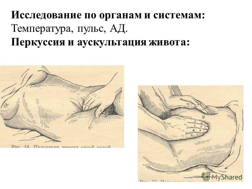 Исследование по органам и системам: Температура, пульс, АД. Перкуссия и аускультация живота: