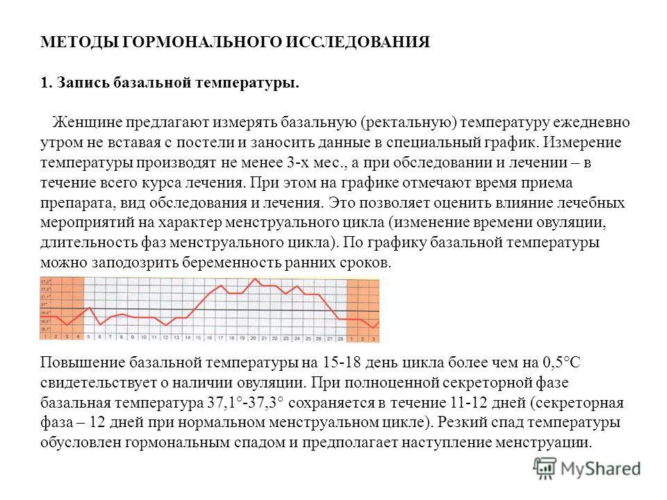 МЕТОДЫ ГОРМОНАЛЬНОГО ИССЛЕДОВАНИЯ 1. Запись базальной температуры. Женщине предлагают измерять базальную (ректальную) температуру ежедневно утром не вставая с постели и заносить данные в специальный график. Измерение температуры производят не менее 3