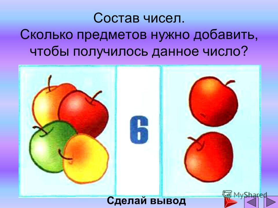 Состав чисел. Сколько предметов нужно добавить, чтобы получилось данное число? Сделай вывод