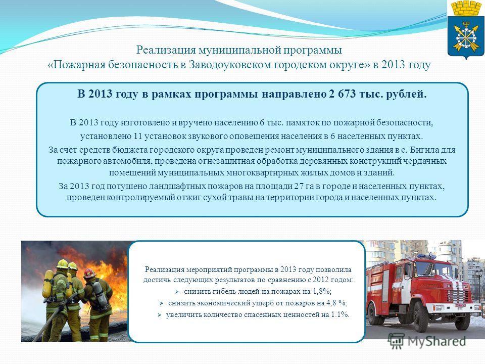 В 2013 году в рамках программы направлено 2 673 тыс. рублей. В 2013 году изготовлено и вручено населению 6 тыс. памяток по пожарной безопасности, установлено 11 установок звукового оповещения населения в 6 населенных пунктах. За счет средств бюджета