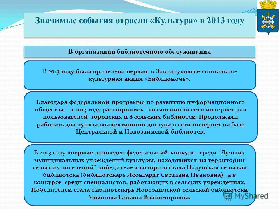 Значимые события отрасли «Культура» в 2013 году В организации библиотечного обслуживания В 2013 году была проведена первая в Заводоуковске социально- культурная акция «Библионочь». Благодаря федеральной программе по развитию информационного общества,