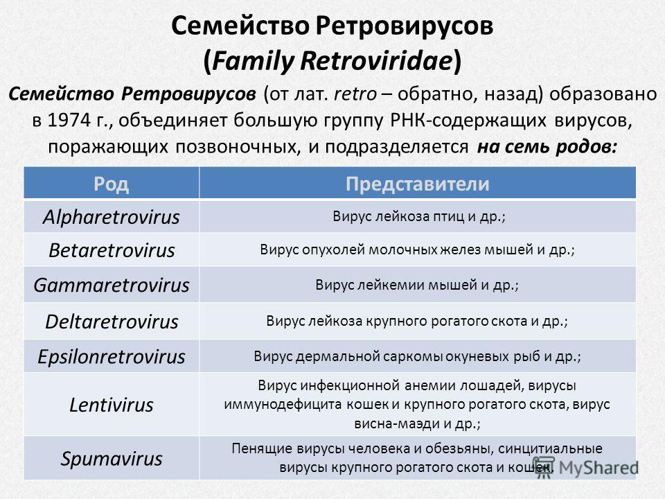 Семейство Ретровирусов (от лат. retro – обратно, назад) образовано в 1974 г., объединяет большую группу РНК-содержащих вирусов, поражающих позвоночных, и подразделяется на семь родов: Род Представители Alpharetrovirus Вирус лейкоза птиц и др.; Betare