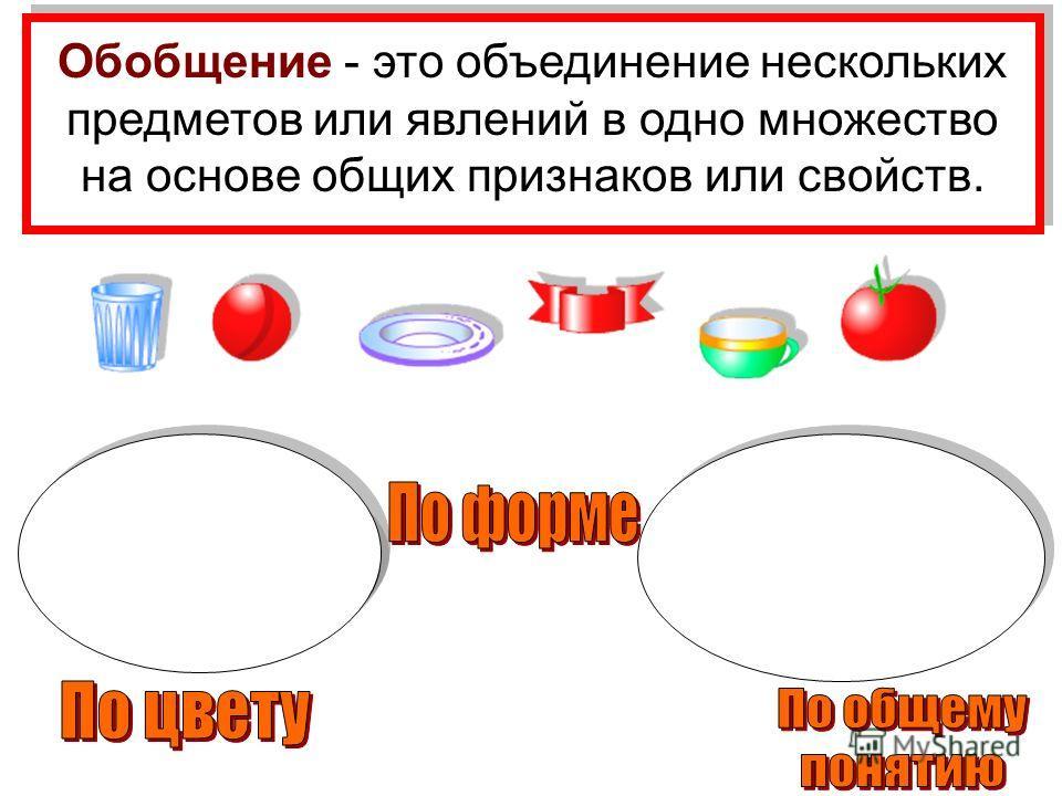 Обобщение - это объединение нескольких предметов или явлений в одно множество на основе общих признаков или свойств.