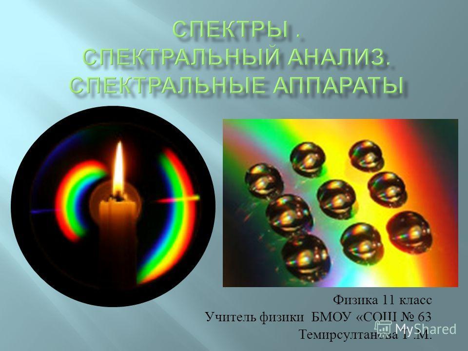 Физика 11 класс Учитель физики БМОУ « СОШ 63 Темирсултанова Т. М.