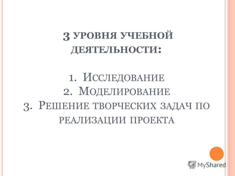 3 УРОВНЯ УЧЕБНОЙ ДЕЯТЕЛЬНОСТИ : 1. И ССЛЕДОВАНИЕ 2. М ОДЕЛИРОВАНИЕ 3. Р ЕШЕНИЕ ТВОРЧЕСКИХ ЗАДАЧ ПО РЕАЛИЗАЦИИ ПРОЕКТА