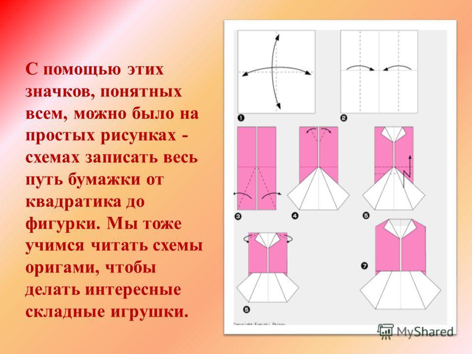 С помощью этих значков, понятных всем, можно было на простых рисунках - схемах записать весь путь бумажки от квадратика до фигурки. Мы тоже учимся читать схемы оригами, чтобы делать интересные складные игрушки.