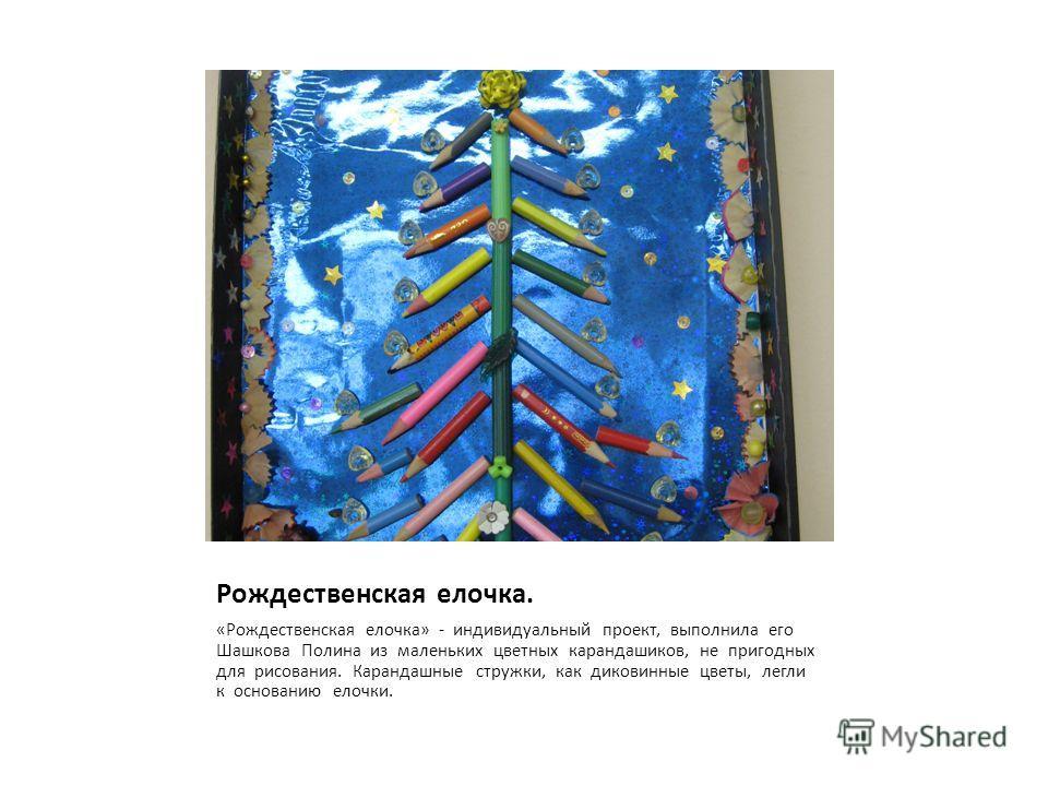 Рождественская елочка. «Рождественская елочка» - индивидуальный проект, выполнила его Шашкова Полина из маленьких цветных карандашиков, не пригодных для рисования. Карандашные стружки, как диковинные цветы, легли к основанию елочки.