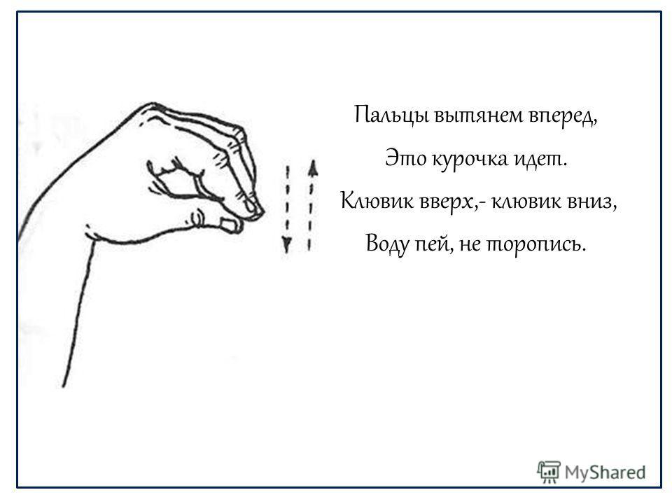 Пальцы вытянем вперед, Это курочка идет. Клювик вверх,- клювик вниз, Воду пей, не торопись.