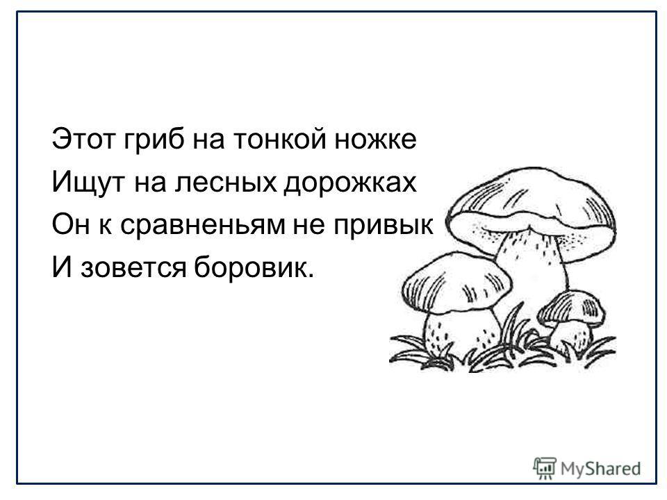 Этот гриб на тонкой ножке Ищут на лесных дорожках Он к сравненьям не привык И зовется боровик.