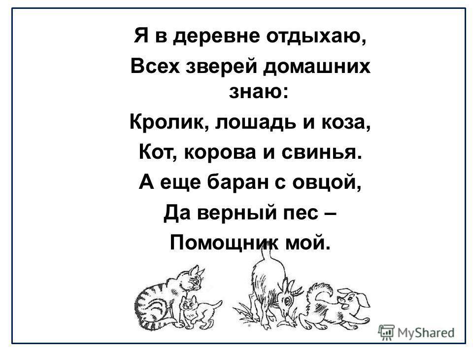 Я в деревне отдыхаю, Всех зверей домашних знаю: Кролик, лошадь и коза, Кот, корова и свинья. А еще баран с овцой, Да верный пес – Помощник мой.