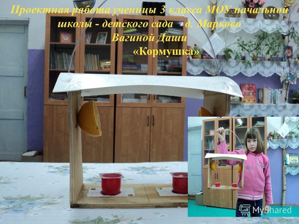 Проектная работа ученицы 3 класса МОУ начальной школы - детского сада д. Марково Вагиной Даши «Кормушка»